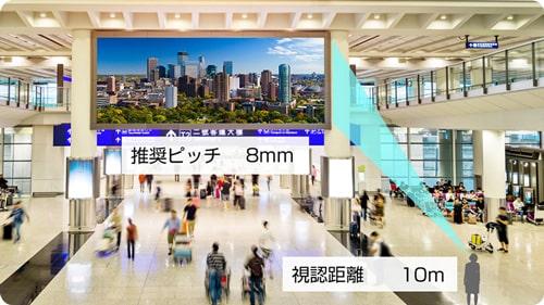 LEDビジョンの推奨ピッチ8mm 視認距離10m